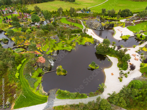 Wall mural Tropical garden on an island in norway, aerial view
