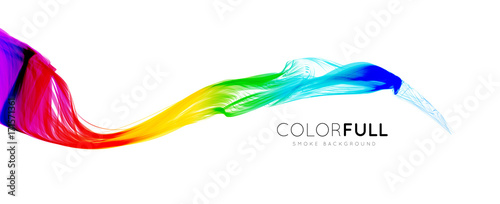 Tuinposter Abstract wave Colorful gradient wave of rainbow color on a white background