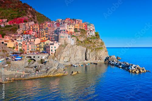 Spoed canvasdoek 2cm dik Blauw Manarola, Cinque Terre, Italien