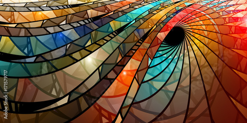 Colorful stained glass spiral - 171579717