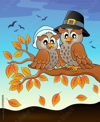 Fotobehang Voor kinderen Happy Thanksgiving owls on branch