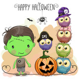 Halloween card with boy and owls