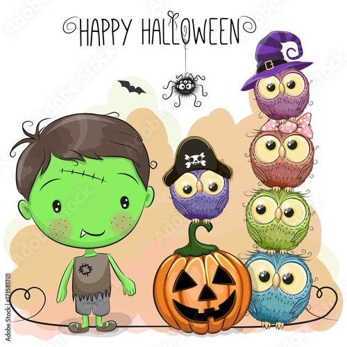 Keuken foto achterwand Uilen cartoon Halloween card with boy and owls