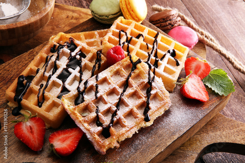 Belgian waffles with strawberries and raspberries, homemade healthy breakfast with coffee - 171590326