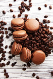 Sweet and colourful french macaroons or macaron with coffee - 171591108
