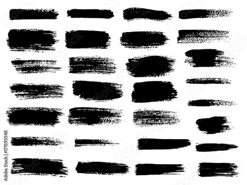 Vector black paint, ink brush stroke, brush, line or texture. Dirty artistic design element, box, frame or background for text. © artemisia1508