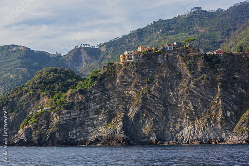 Steep cliffs of Liguria coastline with picturesque villages of Cinque Terre Nati Poster