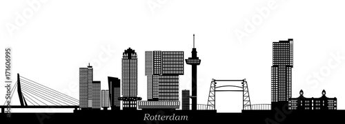 Foto op Canvas Rotterdam rotterdam skyline with hotel, landmarks erasmusbridge and modern architecture