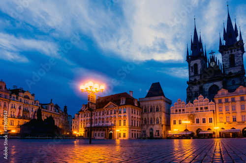 Obraz na płótnie PRAGUE, CZECH REPUBLIC - July 25, 2017 : Beautiful street view of Traditional old buildings in Prague, Czech Republic. July 25, 2017 in PRAGUE