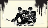 ICE HOCKEY. From the series SILENT HEROES - Athletes with physical disabilities. An hand drawn vector. - - - Note - Any accurate photo original for this picture, original is created by me - - - - 171610501
