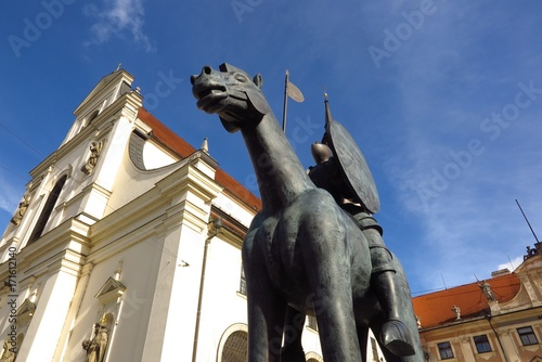 Equestrian Statue of Margrave Jobst of Luxembourg astride a horse in front of Church of St Poster