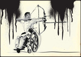 ARCHERY. From the series SILENT HEROES - Athletes with physical disabilities. An hand drawn vector. - - - Note - Any accurate photo original for this picture, original is created by me - - - - 171612327
