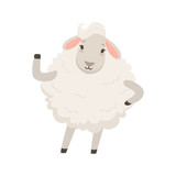Cute white sheep character waving its hand, funny humanized animal vector Illustration - 171614564