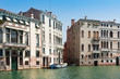 Canal Grande, facades of beautiful old townhouses, Venice, Italy, summer 2017