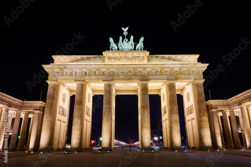 Brandenburger Tor (Brandenburg Gate) panorama, famous landmark in Berlin Germany Poster