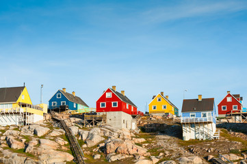 Colorful houses in Ilulissat, western Greenland