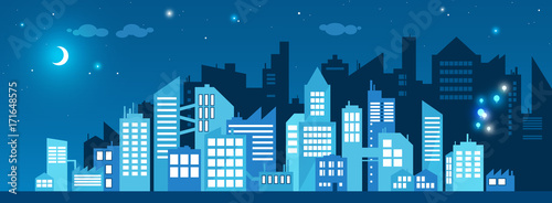 Poster cityscape glowing at night