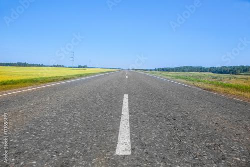 Aluminium Zomer asphalt road along summer fields
