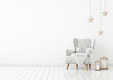 Christmas livingroom interior with velvet armchair, pillow, stars and lanterns on white wall background. 3D rendering. - 171661737