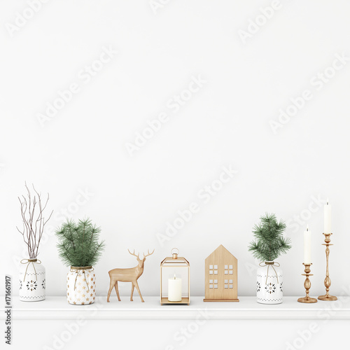 Empty white wall mock up with pine branches in vases, wooden deer, candles and lantern. 3D rendering.