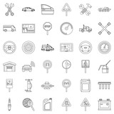 Fototapety Car driver icons set, outline style