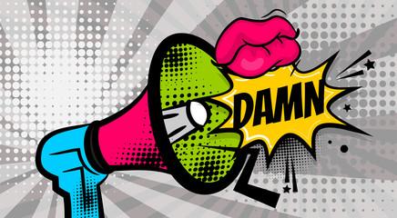 DAMN pop art megaphone pink woman sexy lips, wow star. Comics book balloon. Bubble speech phrase. Cartoon girl lipstick font label tag expression. Comic text sound effects. Vector illustration.