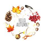 Hello Autumn. Hand drawn autumn card template - 171684540