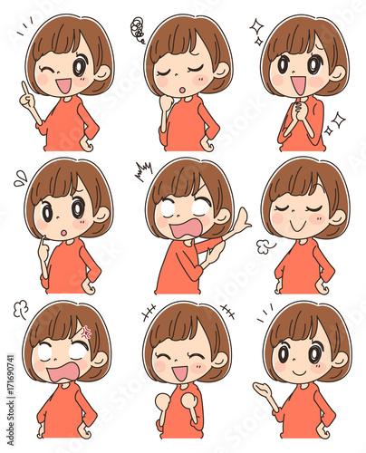 様々な表情をした女性のセット - 171690741