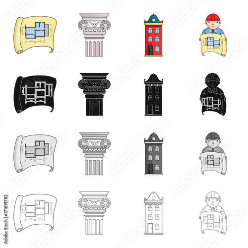 Sticker Drawing, ancient column, multi-storey building, architect with a sketch. Architecture set collection icons in cartoon black monochrome outline style vector symbol stock illustration web.