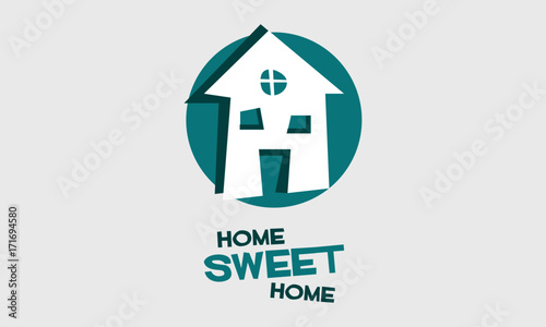 Aluminium Positive Typography Home Sweet Home (Vector Illustration Design)