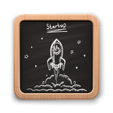 Chalk On A Blackboard Rocket    Illustration Wall Sticker