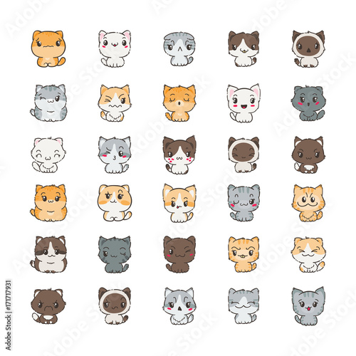 Cute cartoon cats and dogs with different emotions. Sticker collection. - 171717931