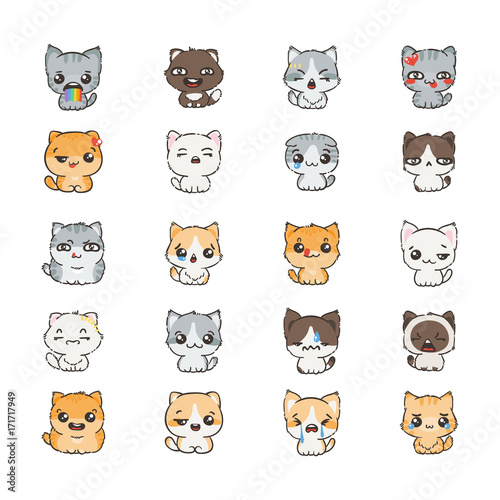 Cute cartoon cats and dogs with different emotions. Sticker collection. - 171717949