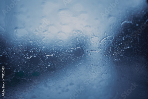 rainy season rain storm windshield wet splash blur for background