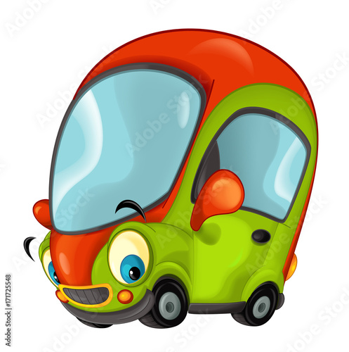 Cartoon sports car smiling and looking - illustration for children - 171725548