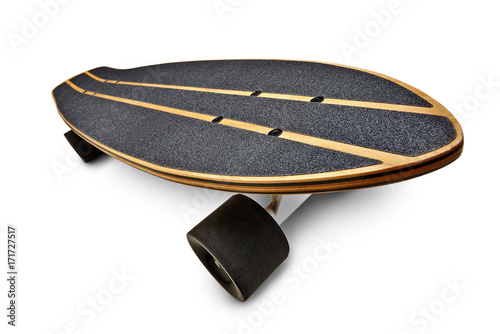 Fotobehang Skateboard Black and wooden skate board isolated