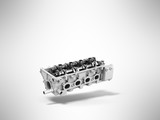 Concept of the cylinder head 3d render on a gray background