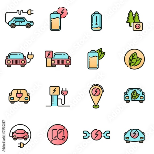 Electric Car icons set. Colored with thin line contour sign. Electrical charging and service station. Eco energy refueling symbols