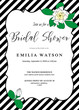 Bridal shower invitation card template with hand drawn gardenia flowers and diagonal black stripes. Trendy modern design for wedding