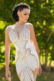 Bride in white sexy dress on sunny day - 171734931