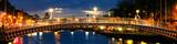 Dublin, Ireland. Night view of famous Ha Penny bridge