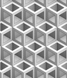 monochrome geometric 3D illustration, seamless decorative wallpaper, black linear adge