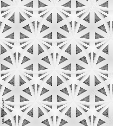 White shaded abstract geometric pattern with a concrete background. Seamless decorative wallpaper