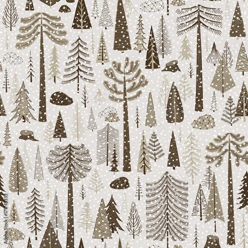 Materiał do szycia Seamless winter pattern of coniferous forest