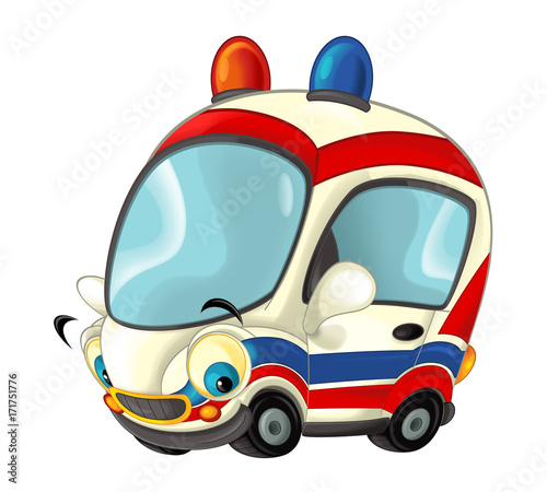 Cartoon happy and funny ambulance car - isolated illustration for children - 171751776