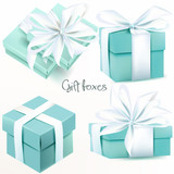 Collection of vector realistic blue gift boxes - 171752339