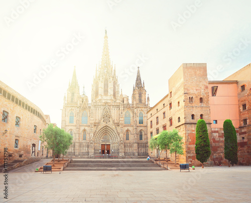 Deurstickers Barcelona Square with cathedral church with sunlight in Gotic quarter of Barcelona, Spain