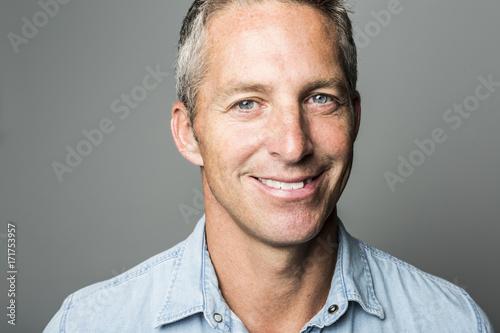 Closeup portrait of a smiling man. Poster