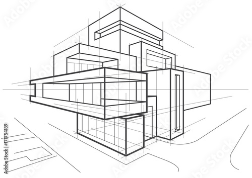 abstract architectural linear sketch of multi-storey building