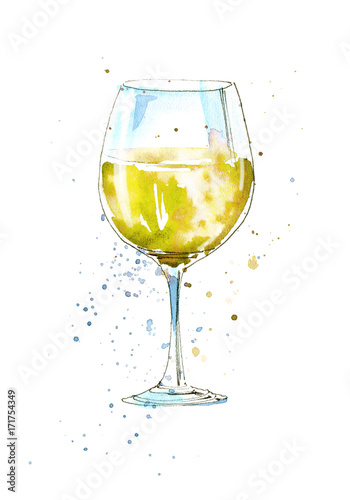 Glass of a white wine.Picture of a alcoholic drink.Watercolor hand drawn illustration. - 171754349